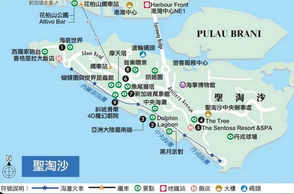 聖淘沙景點地圖