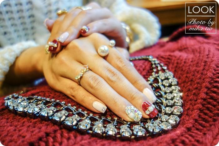 酒紅凝膠指甲,過年凝膠指甲,金色凝膠指甲